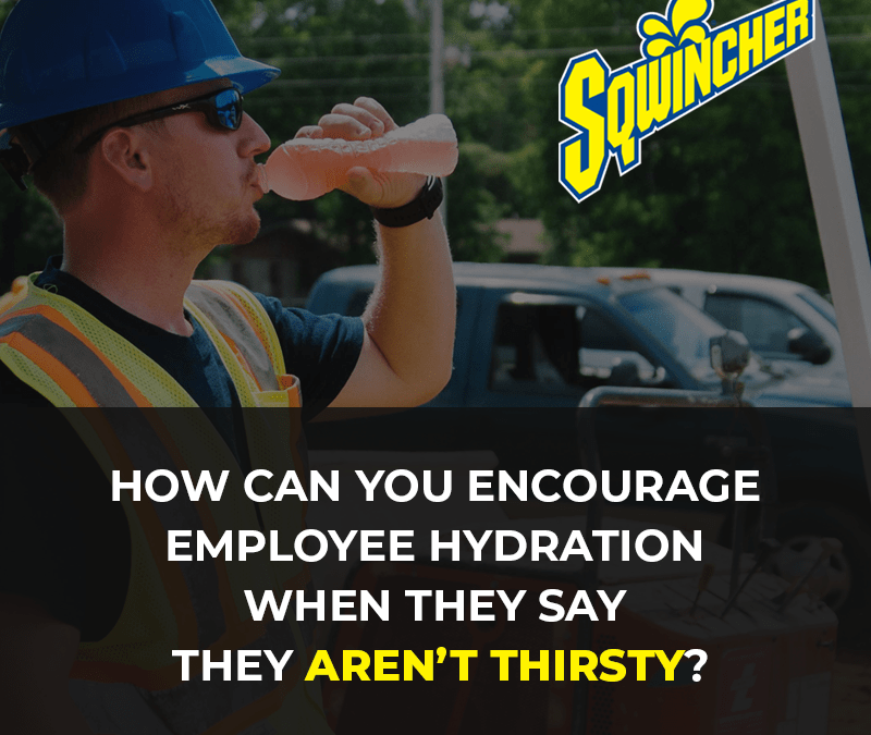 How can you encourage employee hydration when they say they aren't thirsty?